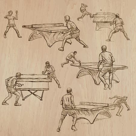 line drawings: TABLE TENNIS, . Collection of an hand drawn illustrations (line art vectors). Drawings comprises a few layers of lines, background is isolated. Editable in groups and layers.
