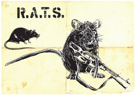 rata: Una rata, ratón con el arma. Un dibujado a mano de vector. Boceto a mano alzada, sin trazado - sólo a mano alzada. Editable por los objetos y grupos. Dibujo sobre papel viejo, el procesamiento de la vendimia.