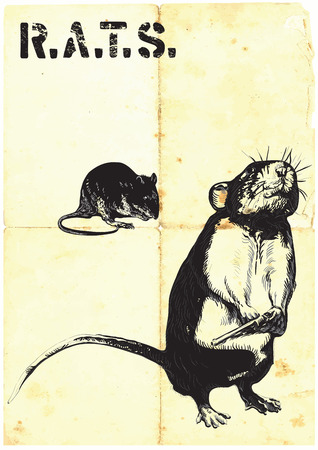 comix: An rat, mouse with gun. An hand drawn vector. Freehand sketch, no tracing - just freehand. Editable by objects and groups. Drawing on old paper, vintage processing.