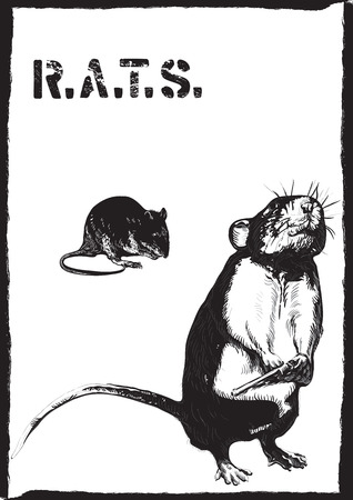 comix: An rat, mouse with gun. An hand drawn vector. Freehand sketch, no tracing - just freehand. Editable by objects and groups. Drawing on white.
