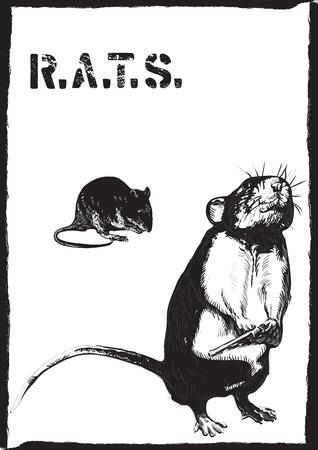 Un rat, la souris avec un pistolet. Un tiré par la main vecteur. Croquis à main levée, sans traçage - juste à main levée. Modifiable par des objets et des groupes. Dessin sur blanc.