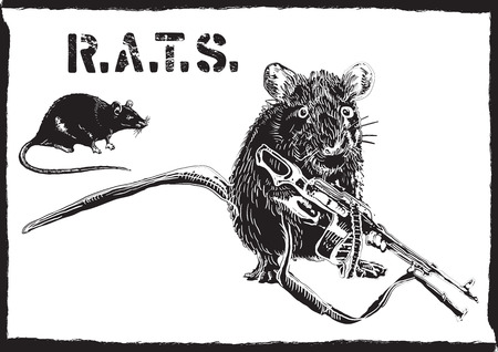An rat, mouse with gun. An hand drawn vector. Freehand sketch, no tracing - just freehand. Editable by objects and groups. Drawing on white.