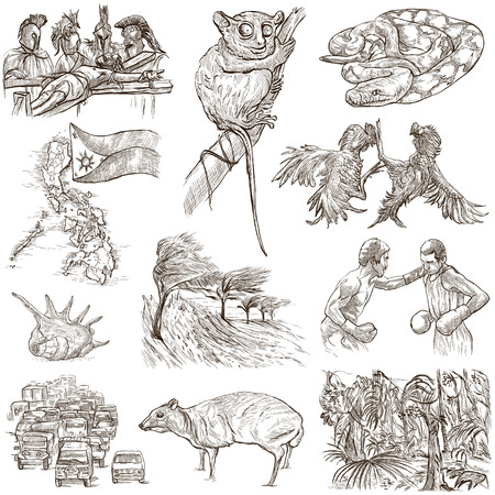 pythons: Travel series, PHILIPPINES - Collection of an hand drawn illustrations. Description, Full sized hand drawn freehand sketches Illustrations. Drawing on white background.