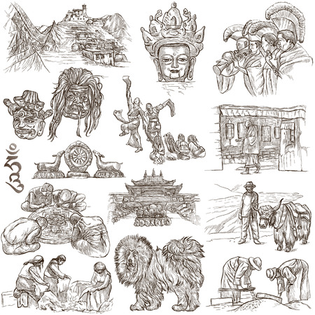 Travel series, TIBET - Collection of an hand drawn illustrations. Description, Full sized hand drawn freehand sketches Illustrations. Drawings on white background.