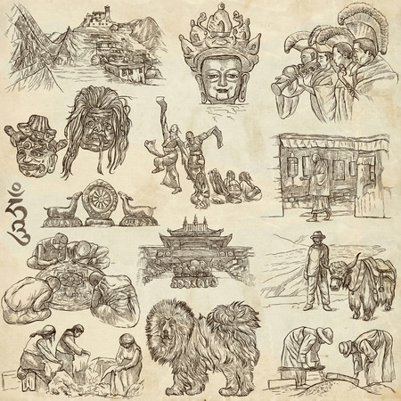 tibet: Travel series, TIBET - Collection of an hand drawn illustrations. Description, Full sized hand drawn freehand sketches Illustrations. Drawings on old paper.