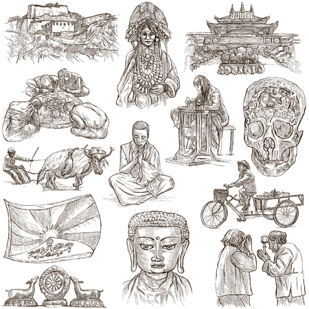 collection series: Travel series, TIBET - Collection of an hand drawn illustrations. Description, Full sized hand drawn freehand sketches Illustrations. Drawings on white background.