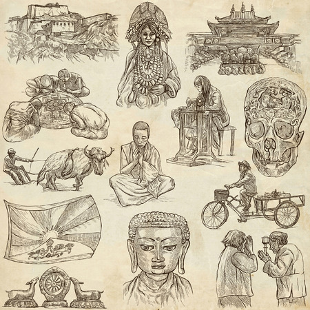 collection series: Travel series, TIBET - Collection of an hand drawn illustrations. Description, Full sized hand drawn freehand sketches Illustrations. Drawings on old paper.