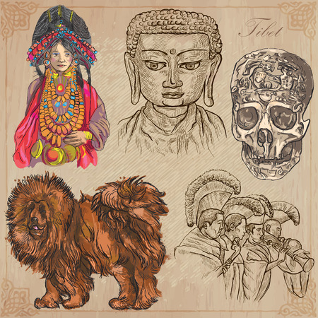 An hand drawn pack, Travel - TIBET, Pictures of Life. Description - Vectors, freehand sketching. Editable in layers and groups. Background is isolated. All things are named inside the vector file. Illustration