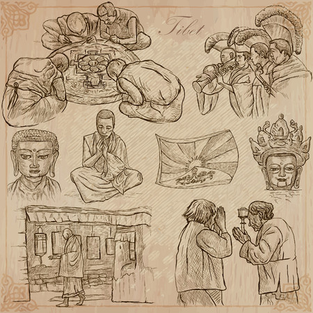 tibet: An hand drawn pack, Travel - TIBET, Pictures of Life. Description - Vectors, freehand sketching. Editable in layers and groups. Background is isolated. All things are named inside the vector file. Illustration