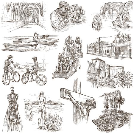 旅行シリーズ、ポルトガル - 生命の写真。手描きイラスト集です。説明、フルサイズの手描き手書きスケッチ イラスト。白の背景上に描画します。