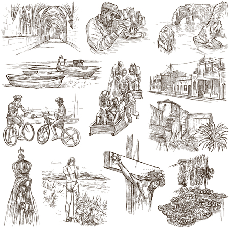 Travel series, PORTUGAL - Pictures of Life. Collection of an hand drawn illustrations. Description, Full sized hand drawn freehand sketches Illustrations. Drawing on white background.