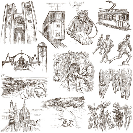 minster: Travel series, PORTUGAL - Pictures of Life. Collection of an hand drawn illustrations. Description, Full sized hand drawn freehand sketches Illustrations. Drawing on white background.