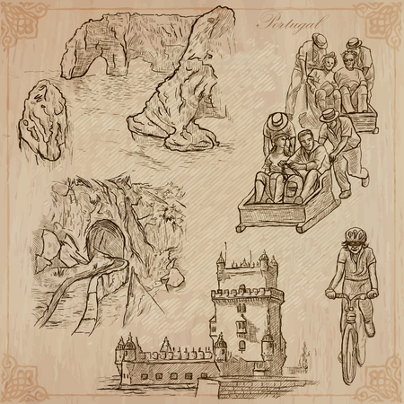 An hand drawn pack, Travel - PORTUGAL, Pictures of Life. Description - Vectors, freehand sketching. Editable in layers and groups. Background is isolated. All things are named inside the vector file. 矢量图像