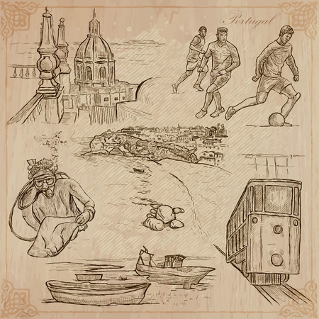 An hand drawn pack, Travel - PORTUGAL, Pictures of Life. Description - Vectors, freehand sketching. Editable in layers and groups. Background is isolated. All things are named inside the vector file. Illustration