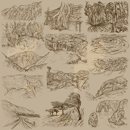 Famous Places, Landscapes and Sceneries - Collection of an hand drawn illustrations. Description, Hand drawn, freehand, illustrations in one vector pack. All sights are named inside the vector file. 矢量图像