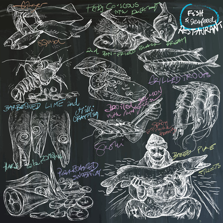 restauration: An hand drawn vector pack, theme - (blackboard) food - fish and seafood restauration - white freehand sketching on blackboard background.