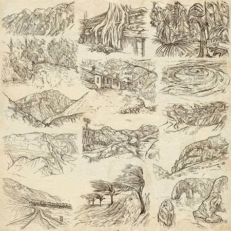 judaean desert: Famous Places, Landscapes and Sceneries - Collection of an hand drawn illustrations. Description, Full sized hand drawn illustrations drawing on old paper. Freehands.