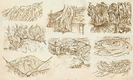 corsica: Famous Places, Landscapes and Sceneries - Collection of an hand drawn illustrations. Description, Hand drawingillustrations (freehands),  in one vector pack.