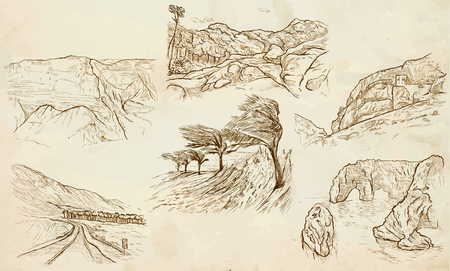 Famous Places, Landscapes and Sceneries - Collection of an hand drawn illustrations. Description, Hand drawingillustrations (freehands),  in one vector pack.