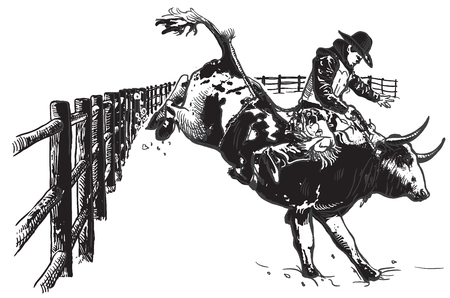 cruelty: An hand drawn freehand vector - RODEO. Scene from the american culture.