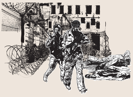 go inside: An hand drawn vector, freehand sketching (no tracing). From the series: WAR PLACES - WAR ZONES, War District - Two soldiers go around corpses inside the body bags.