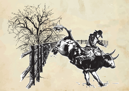 animal cruelty: An hand drawn freehand vector - RODEO. Scene from the american culture.