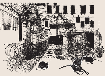An hand drawn vector, freehand sketching (no tracing). From the series: WAR PLACES, War District - Rat Soldiers - Yellow Streak. Vector Illustration