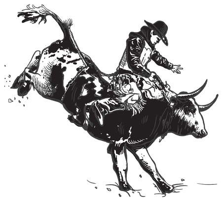 An hand drawn freehand vector - RODEO. Scene from the american culture.