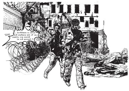 Ręcznie rysowane wektor, szkicowanie odręczne (bez śledzenia). Z cyklu: Miejsca WAR - strefy wojny, wojny dzielnica - Dwóch żołnierzy przejść wokół zwłok wewnątrz torby ciała.