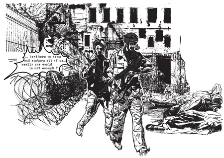 An hand drawn vector, freehand sketching (no tracing). From the series: WAR PLACES - WAR ZONES, War District - Two soldiers go around corpses inside the body bags.