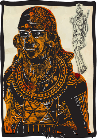 An hand drawn vector, freehand sketching no tracing. An AFRICAN - handsome warrior, young man.