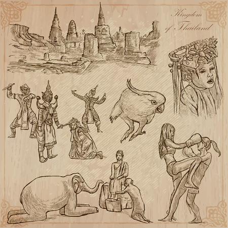 national geographic: Travel - Kingdom of THAILAND. Pictures of Life. Hand drawn vector pack, freehand sketching. Editable in layers and groups. Background is isolated. All things are named inside the vector file.