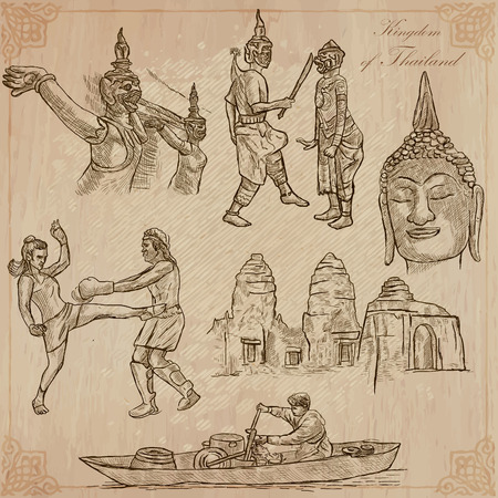 loci: Travel - Kingdom of THAILAND. Pictures of Life. Hand drawn vector pack, freehand sketching. Editable in layers and groups. Background is isolated. All things are named inside the vector file.