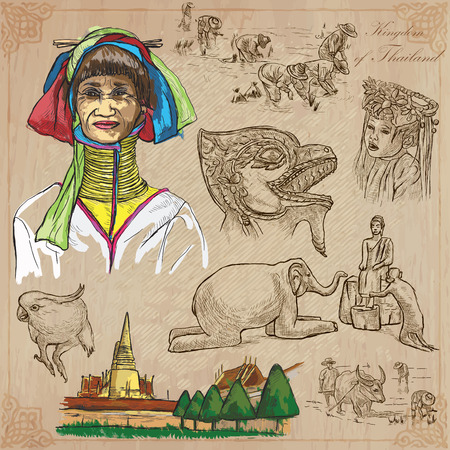 parot: Travel - Kingdom of THAILAND. Pictures of Life. Hand drawn vector pack, freehand sketching. Editable in layers and groups. Background is isolated. All things are named inside the vector file.