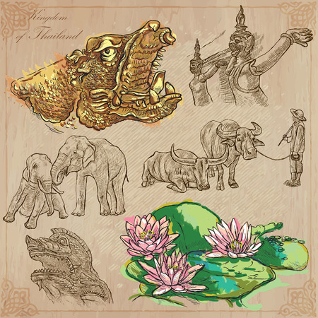 Travel - Kingdom of THAILAND. Pictures of Life. Hand drawn vector pack, freehand sketching. Editable in layers and groups. Background is isolated. All things are named inside the vector file.