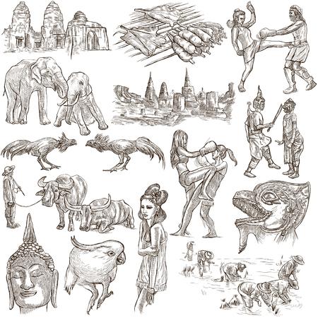 cabeza de buda: la serie del recorrido, Reino de Tailandia - Fotos de la Vida. Colección de una ilustraciones dibujadas a mano. Descripción, ilustraciones mano de tamaño completo elaborados a mano alzada bocetos. Dibujo sobre fondo blanco. Foto de archivo
