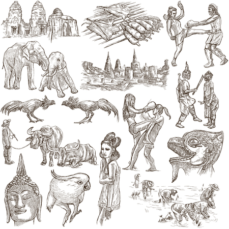 kick around: Travel series, Kingdom of Thailand - Pictures of Life. Collection of an hand drawn illustrations. Description, Full sized hand drawn illustrations freehand sketches. Drawing on white background.
