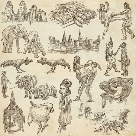 parot: Travel series, Kingdom of Thailand - Pictures of Life. Collection of an hand drawn illustrations. Description, Full sized hand drawn illustrations freehand sketches. Drawing on paper background. Stock Photo