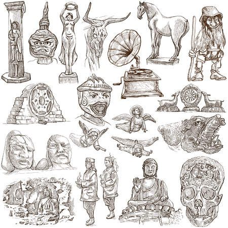 architecture drawing: Native and old art pack - Collection of an hand drawn illustrations. Description, Full sized hand drawn illustrations (freehand sketches). Drawings on white background.