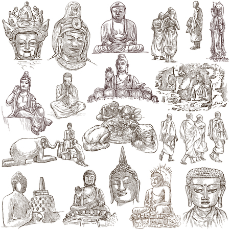 gautama buddha: Buddhism, BUDDHA pack - Collection of an hand drawn illustrations. Description, Full sized hand drawn illustrations (freehand sketches). Drawings on white background. Stock Photo