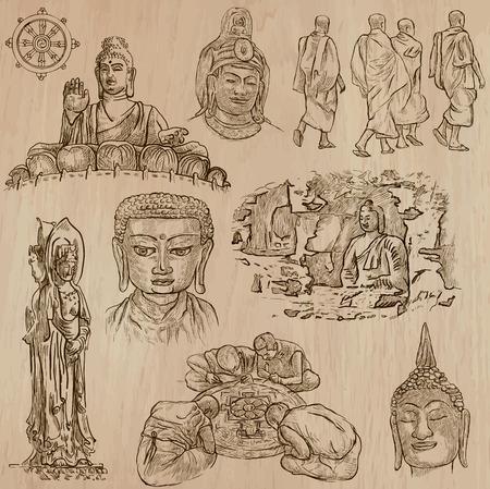 dessin au trait: Bouddhisme - BOUDDHA, religion. - Description de vecteurs, croquis à main levée. Éditable dans les couches et les groupes. Le fond est isolé. Toutes les choses sont nommées dans le fichier vectoriel. Illustration