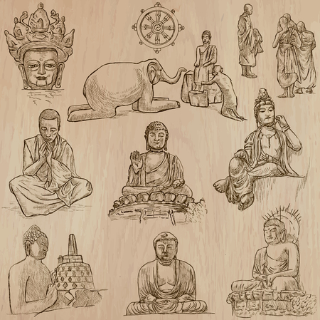bodhisattva: Buddhism - BUDDHA, religion. Description - Vectors, freehand sketching. Editable in layers and groups. Background is isolated. All things are named inside the vector file.
