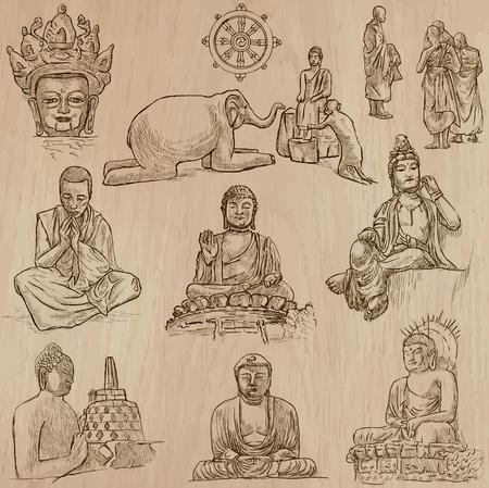 Buddhismus - BUDDHA, Religion. Beschreibung - Vektoren, Freihandzeichnungen. Editierbare in Schichten und Gruppen. Hintergrund ist isoliert. Alle Dinge sind in der Vektor-Datei mit dem Namen.