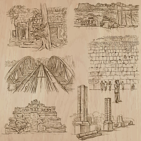 ARCHITECTURE and Famous Places around the World. Description - Hand drawn vectors, freehand sketching. Editable in layers and groups. Background is isolated. All things are named inside the file.