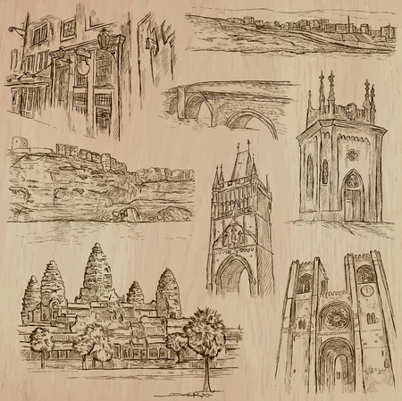famous places: ARCHITECTURE and Famous Places around the World. Description - Hand drawn vectors, freehand sketching. Editable in layers and groups. Background is isolated. All things are named inside the file.