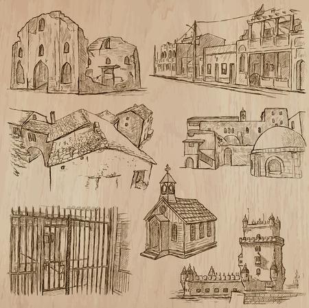 ARCHITETTURA e luoghi famosi in tutto il mondo. Descrizione - disegnati a mano vettori, schizzo a mano libera. Modificabile in livelli e gruppi. Sfondo è isolato. Tutte le cose sono chiamati all'interno del file.