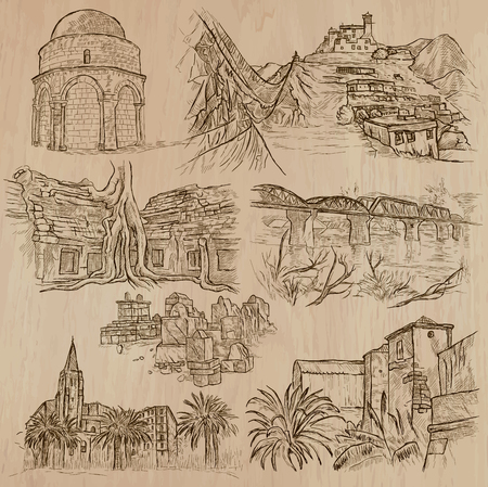 corsica: ARCHITECTURE and Famous Places around the World. Description - Hand drawn vectors, freehand sketching. Editable in layers and groups. Background is isolated. All things are named inside the file.
