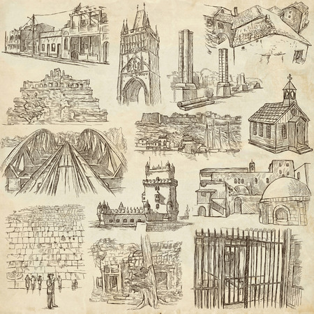 prison house: ARCHITECTURE around the World - pack, collection - Collection of an hand drawn illustrations. Description, Full sized hand drawn illustrations (freehand sketches). Drawings on old paper. Stock Photo
