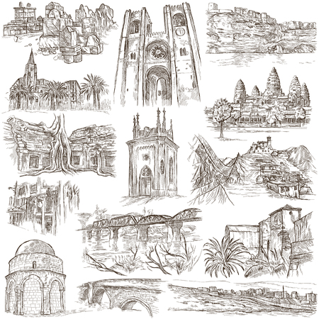 corsica: ARCHITECTURE around the World - pack, collection - Collection of an hand drawn illustrations. Description, Full sized hand drawn illustrations (freehand sketches). Drawings on old paper. Stock Photo