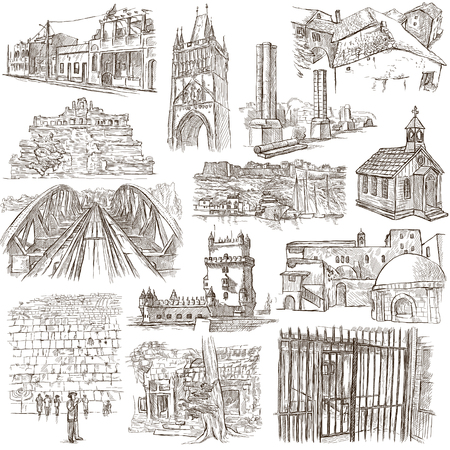 loci: ARCHITECTURE around the World - pack, collection - Collection of an hand drawn illustrations. Description, Full sized hand drawn illustrations (freehand sketches). Drawings on old paper. Stock Photo